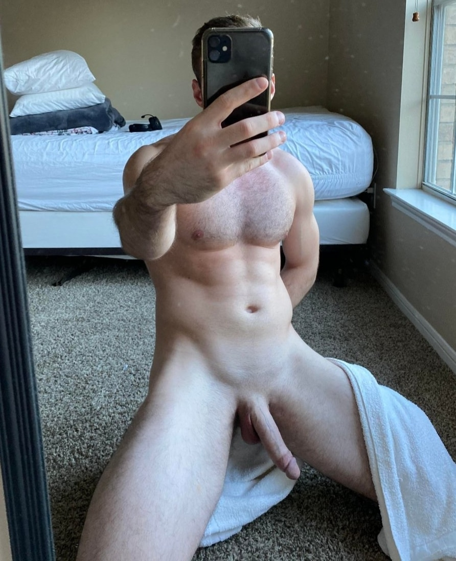 Hairy chest and shaved cock