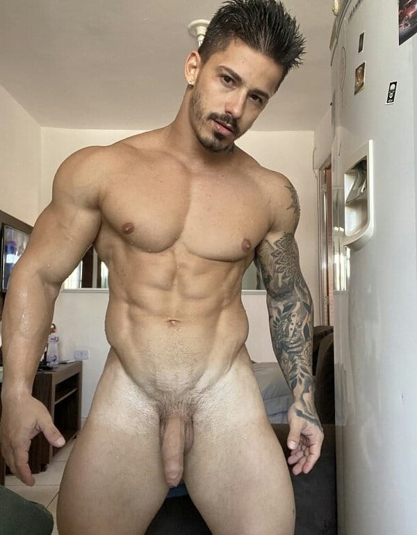 Hunky nude guy with a softie