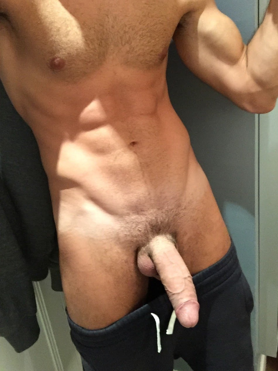 Pants down and big dick out