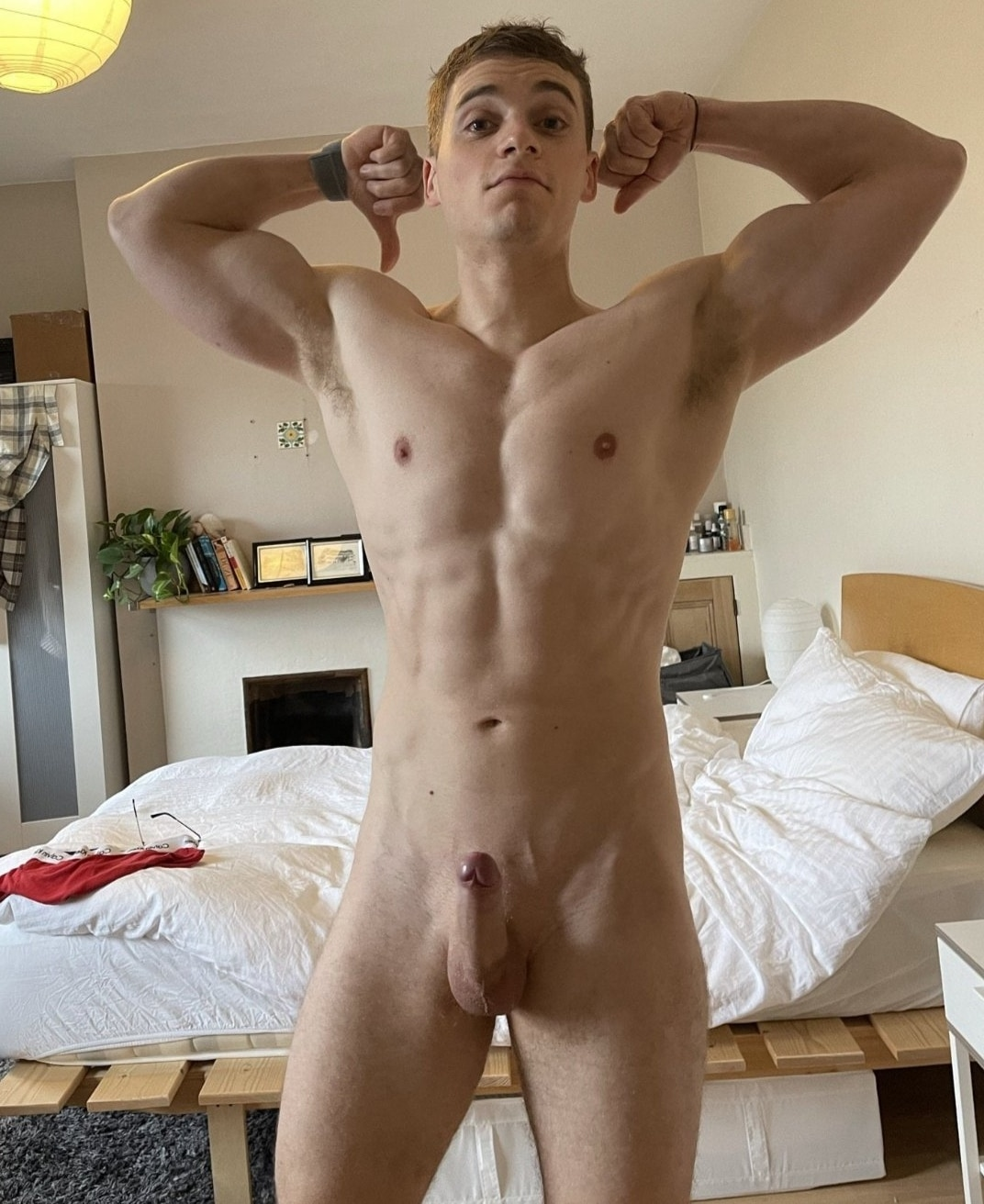 Sexy nude boy flexing