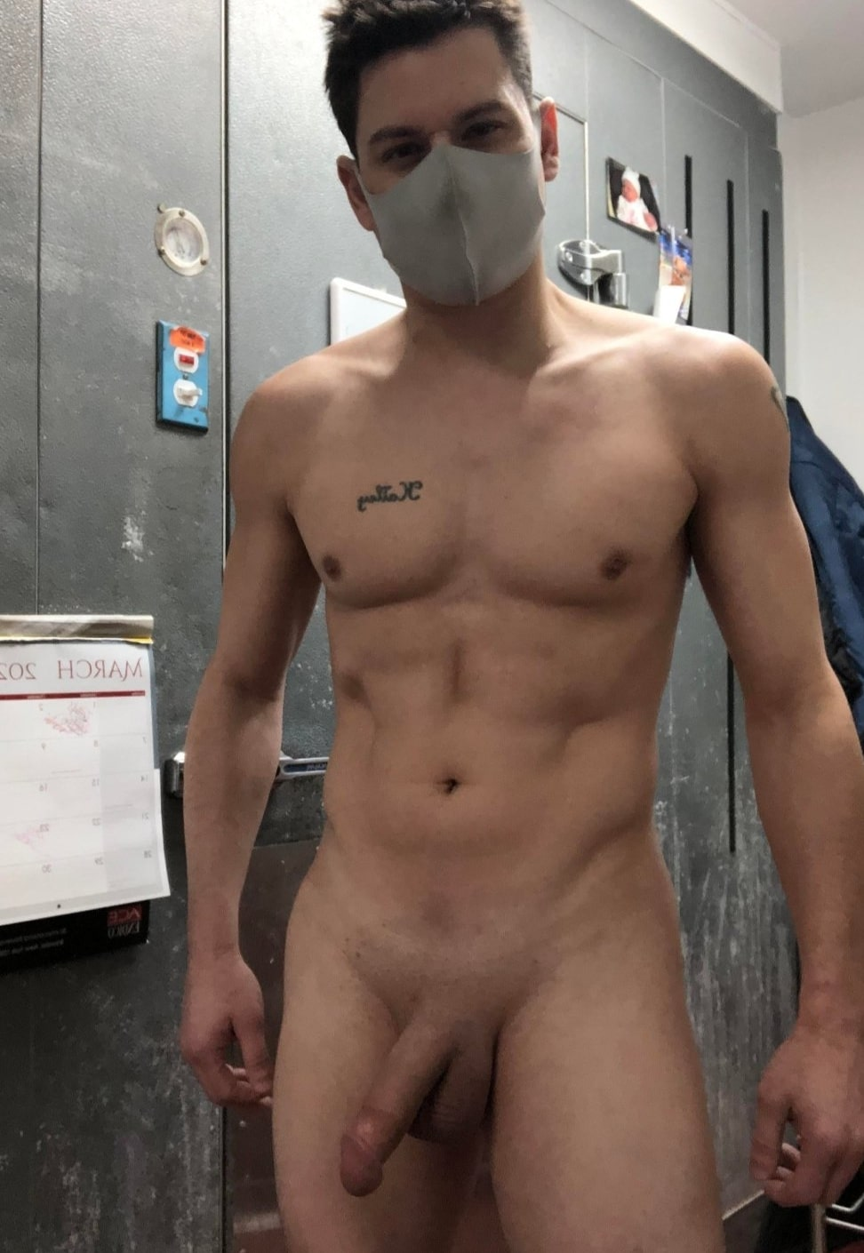 Smooth shaved nude stud